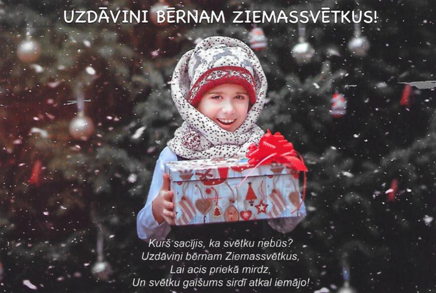 """Latvijā startējusi akcija """"Uzdāvini bērnam Ziemassvētkus!"""""""